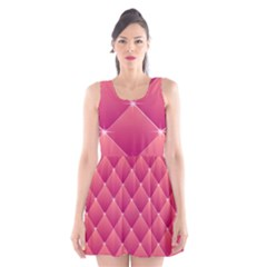 Pink Background Geometric Design Scoop Neck Skater Dress