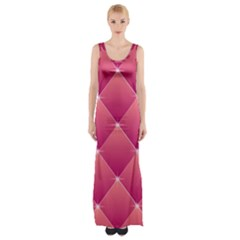 Pink Background Geometric Design Maxi Thigh Split Dress