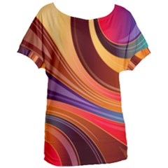 Abstract Colorful Background Wavy Women s Oversized Tee