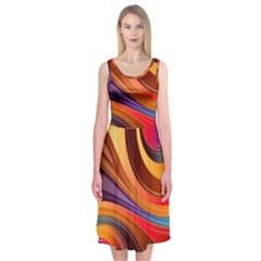 Abstract Colorful Background Wavy Midi Sleeveless Dress