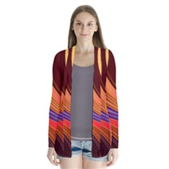 Abstract Colorful Background Wavy Drape Collar Cardigan