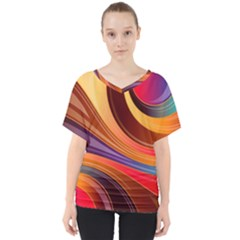 Abstract Colorful Background Wavy V Neck Dolman Drape Top by Nexatart