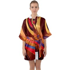 Abstract Colorful Background Wavy Quarter Sleeve Kimono Robe