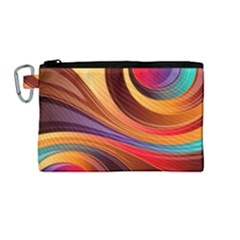 Abstract Colorful Background Wavy Canvas Cosmetic Bag (medium) by Nexatart