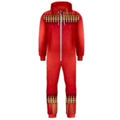 Background Red Abstract Hooded Jumpsuit (men)