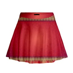 Background Red Abstract Mini Flare Skirt