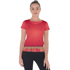 Background Red Abstract Short Sleeve Sports Top