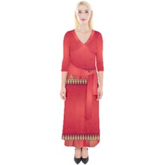 Background Red Abstract Quarter Sleeve Wrap Maxi Dress