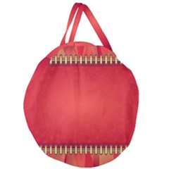 Background Red Abstract Giant Round Zipper Tote