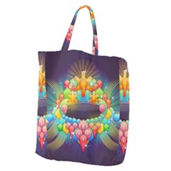 Badge Abstract Abstract Design Giant Grocery Zipper Tote