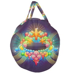 Badge Abstract Abstract Design Giant Round Zipper Tote