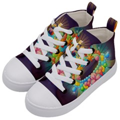 Badge Abstract Abstract Design Kid s Mid Top Canvas Sneakers by Nexatart
