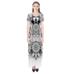 Forest Patrol Tribal Abstract Short Sleeve Maxi Dress