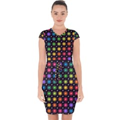 Background Colorful Geometric Capsleeve Drawstring Dress