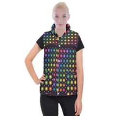 Background Colorful Geometric Women s Button Up Puffer Vest