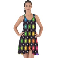 Background Colorful Geometric Show Some Back Chiffon Dress