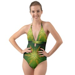 Christmas Snowflake Card E Card Halter Cut Out One Piece Swimsuit