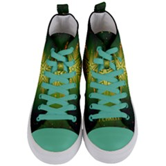 Christmas Snowflake Card E Card Women s Mid Top Canvas Sneakers