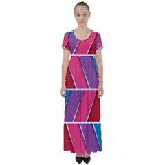 Abstract Background Colorful High Waist Short Sleeve Maxi Dress