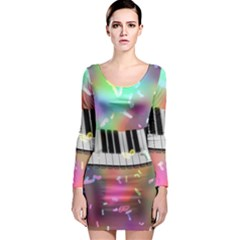 Piano Keys Music Colorful 3d Long Sleeve Bodycon Dress by Nexatart