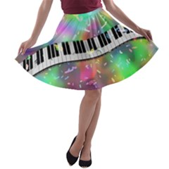 Piano Keys Music Colorful 3d A Line Skater Skirt by Nexatart