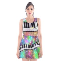 Piano Keys Music Colorful 3d Scoop Neck Skater Dress by Nexatart
