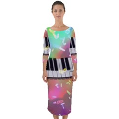 Piano Keys Music Colorful 3d Quarter Sleeve Midi Bodycon Dress
