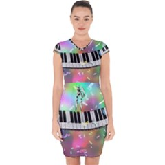 Piano Keys Music Colorful 3d Capsleeve Drawstring Dress  by Nexatart
