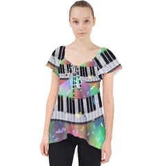 Piano Keys Music Colorful 3d Lace Front Dolly Top by Nexatart