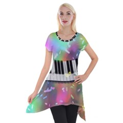 Piano Keys Music Colorful 3d Short Sleeve Side Drop Tunic