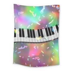 Piano Keys Music Colorful 3d Medium Tapestry by Nexatart