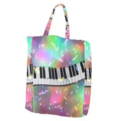 Piano Keys Music Colorful 3d Giant Grocery Zipper Tote by Nexatart