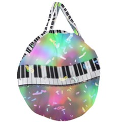 Piano Keys Music Colorful 3d Giant Round Zipper Tote by Nexatart