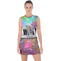 Piano Keys Music Colorful 3d Lace Up Front Bodycon Dress by Nexatart