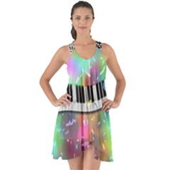 Piano Keys Music Colorful 3d Show Some Back Chiffon Dress by Nexatart