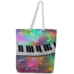 Piano Keys Music Colorful 3d Full Print Rope Handle Tote (large) by Nexatart