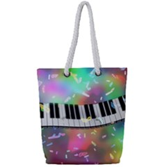 Piano Keys Music Colorful 3d Full Print Rope Handle Tote (small) by Nexatart