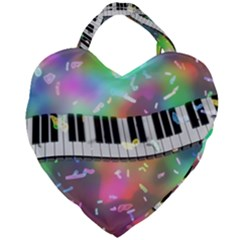 Piano Keys Music Colorful 3d Giant Heart Shaped Tote by Nexatart