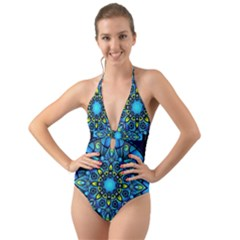 Mandala Blue Abstract Circle Halter Cut Out One Piece Swimsuit