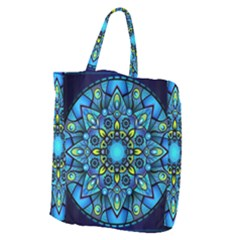 Mandala Blue Abstract Circle Giant Grocery Zipper Tote