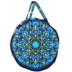 Mandala Blue Abstract Circle Giant Round Zipper Tote