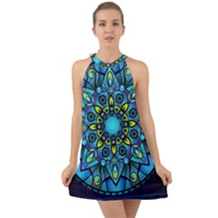 Mandala Blue Abstract Circle Halter Tie Back Chiffon Dress by Nexatart