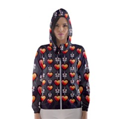 Love Heart Background Hooded Wind Breaker (women)