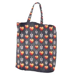 Love Heart Background Giant Grocery Zipper Tote