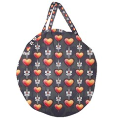 Love Heart Background Giant Round Zipper Tote