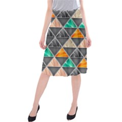 Abstract Geometric Triangle Shape Midi Beach Skirt