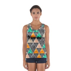 Abstract Geometric Triangle Shape Sport Tank Top