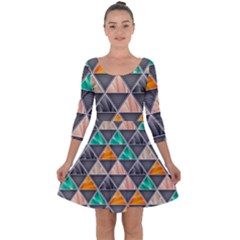 Abstract Geometric Triangle Shape Quarter Sleeve Skater Dress