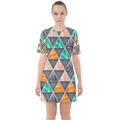 Abstract Geometric Triangle Shape Sixties Short Sleeve Mini Dress