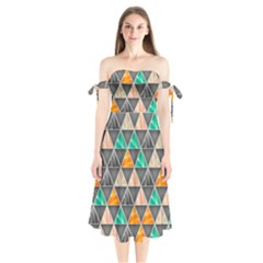 Abstract Geometric Triangle Shape Shoulder Tie Bardot Midi Dress